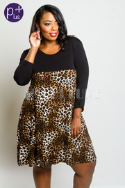 Plus Size Solid & Leopard Tunic Weekend Dress