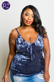 Plus Size Ruffled V-cut Velvet Cami Top