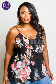 Plus Size Floral V-neck Ruffled Tank