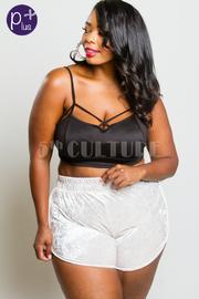 Plus Size Casual Velvet Mini Shorts