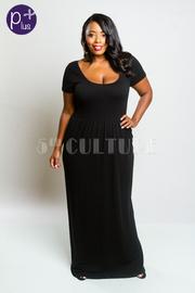 Plus Size Short Sleeved Scoop Neck Flowy Maxi Modal Dress