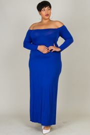 Plus Size Long Sleeved Off Shoulder Maxi Dress