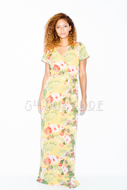 Surplice Hawaiian Maxi Chiffon Dress