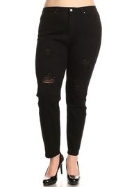 Plus Size Distressed Denim Skinny Jeans