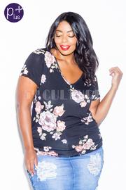 Plus Size V-neck Floral Summer Top