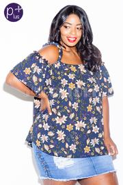 Plus Size Peek A Boo Floral Sheer Blouse