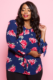Plus Size Long Sleeved Floral Sheer Blouse