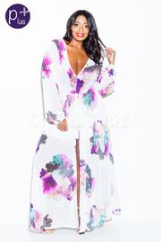 Plus Size Miss Classy Slit Front Maxi Floral Dress