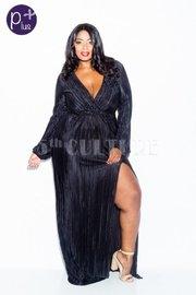 Plus Size Elegant Silky Pleat Maxi Cocktail Dress