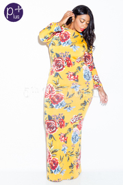 Plus Size 2-Way Roses In Bloom Maxi Slim Dress