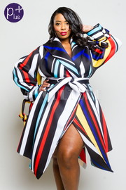 Plus Size Colorful Striped Ponti Jacket Tie Waist Dress