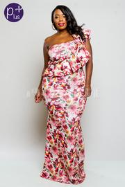 Plus Size One Shoulder Cute Ruffled Trim Mermaid Floral Maxi Dress