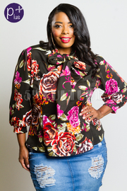 Plus Size Roses Printed Mock Tie 3/4 Sleeved Top