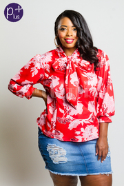 Plus Size Floral In Bloom Tie Mock 3/4 Sleeved Top
