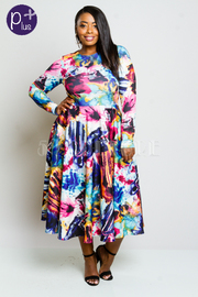 Plus Size Colorful Printed Long Sleeved Flared Dress
