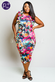 Plus Size Sexy Colorful Printed Ruffled Arm Hole Bodycon Dress