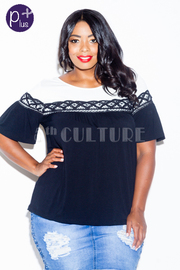 Plus Size Two Toned Laced Trim Top