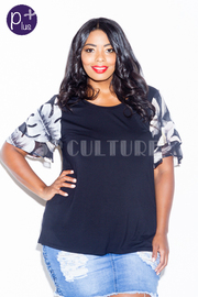 Plus Size Feather Sleeved Solid Top