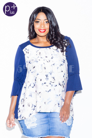 Plus Size Floral & Solid 3/4 Sleeved Top