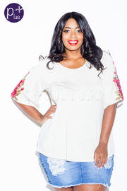 Plus Size Roses Sleeved Solid Top