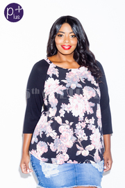 Plus Size Floral In Bloom Solid Top