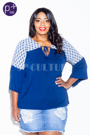 Plus Size Printed Solid Summer Top
