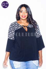 Plus Size Bohemian Solid 3/4 Sleeved Top