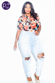 Plus Size Ripped Painted Denim All Day Jeans