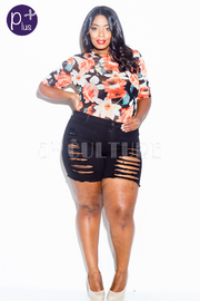 Plus Size Distressed Off Denim Summer Shorts