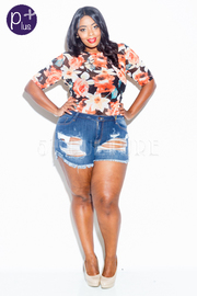 Plus Size Distressed Summer Denim Shorts