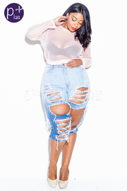 Plus Size Ombre Ripped Off Hole Capri Shorts