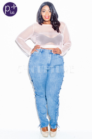 Plus Size Criss Cross Straps Side Jeans