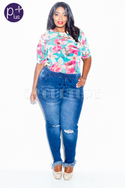 Plus Size Ripped Knee Skinny All Denim Jeans