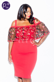 Plus Size In Love With Roses Flounced Cold Shoulder Bodycon Dress