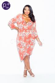 Plus Size Surplice Floral Overlap 3/4 Sleeved Dress