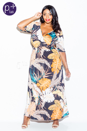 Plus Size Surplice Feathers Printed Maxi Dress