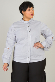 Plus Size Button Down Striped Long Sleeved Cut Shirt