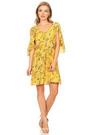 Cold Shoulder Flounced Floral Dress