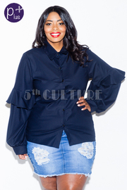 Plus Size Button Down Long Sleeved Bubble Shirt