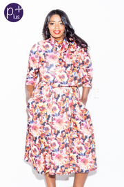 Plus Size Tie Floral Mock Flared Dress