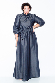 Plus Size Tie Neck All Denim 3/4 Sleeved Maxi Dress