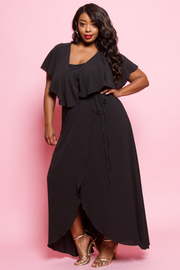 Plus Size V-neck Ruffled Cross Straps Chiffon Maxi Dress