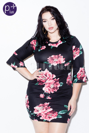 Plus Size Bell Sweet Roses Bodycon Dress