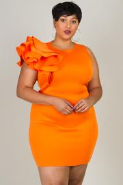 Plus Size One Side Ruffled Cascade Bodycon Dress