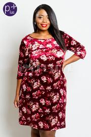 Plus Size 3/4 Sleeved Floral Velvet Tunic Dress
