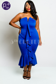 Plus Size Sweetheart Ruffled Down Mermaid Tube Dress
