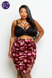 Plus Size Velvet Floral Pencil Skirt