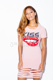 Distressed Kiss Lips Mini Dress