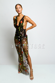 Pretty Flowers In Bloom All Mesh Sexy Maxi Dress