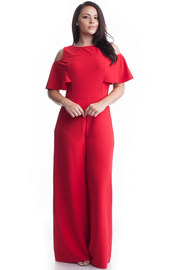 Plus Size Ruffled Sleeved Open Shoulder Palazzo Jumpsuit